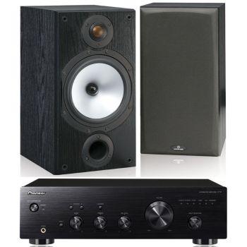 Pioneer A-10K+Monitor Audio MR2 Black Conjunto Audio