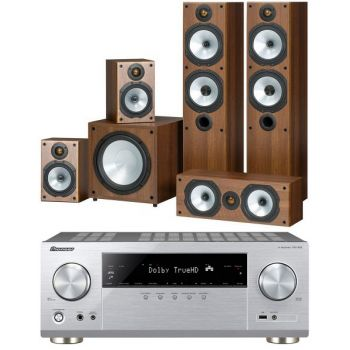 Pioneer VSX-832 Silver + Monitor Audio Power 4 Walnut Conjunto Home Cinema