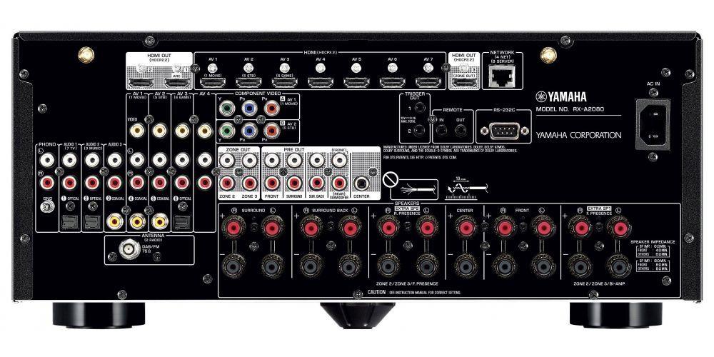 yamaha RXA2080 receptor av mando funciones conexiones