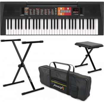 Yamaha PSR-F51 Teclado de 61 Teclas + Onyx Pack: Soporte Teclado / Piano + Banqueta + Funda Teclado 61 Teclas