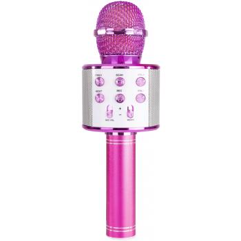 max KM01P Micrófono de Karaoke con Altavoz Incorporado bt/mp3 rosa 130133