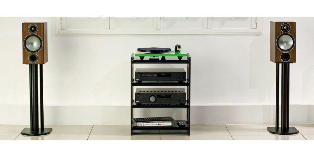 monitor audio bronze 2 par de bafles de estante black en casa