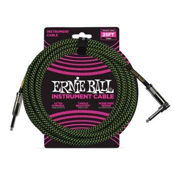 Ernie Ball 6066 Cable Instrumento Trenzado JACK-JACK 7,62 Metros Negro / Verde