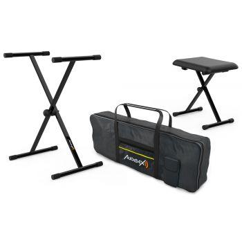 Audibax Onyx Pack de Soporte Teclado / Piano + Banqueta + Funda Teclado 61 Teclas