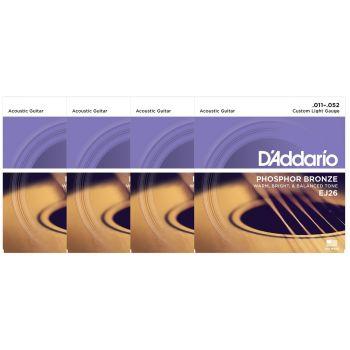 D Addario EJ26 Juego Cuerdas de Guitarra Acústica Pack 4 Unidades