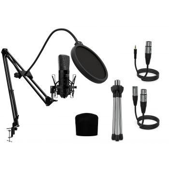 Audibax Berlin 1800 Black Pro Pack Micrófono Estudio + Soporte + Antipop + Cables