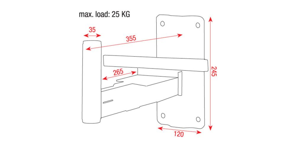 dimensiones soporte pared altavoz