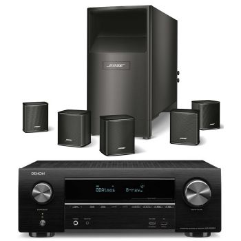 DENON AVR-X1500+Bose AM-6V Black Conjunto Home cinema