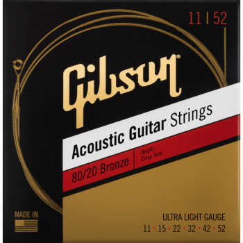 Gibson 80/20 Bronze Acoustic Guitar Strings Ultra-Light Cuerdas Guitarra Acústica