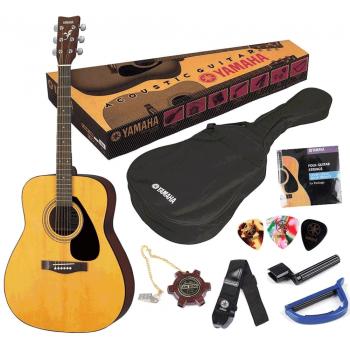 YAMAHA F-310P Pack Guitarra Acústica. Bolsa de transporte, Diapasón de lengüeta, Set Cuerdas, Cinta, Cejilla y Púas