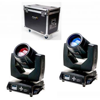 Audibax Monster Beam 7R 2 unidades + Flightcase Doble. 14 colores + Blanco. 17 Gobos fijo + Blanco ( REACONDICIONADO )