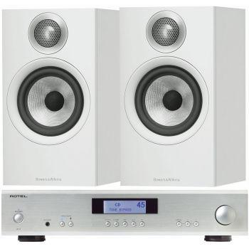 ROTEL A-11 Silver + BW 606 White conjunto audio