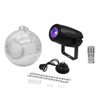 Eurolite Mirror Ball 30cm with motor + LED PST-5 QCL Spot bk