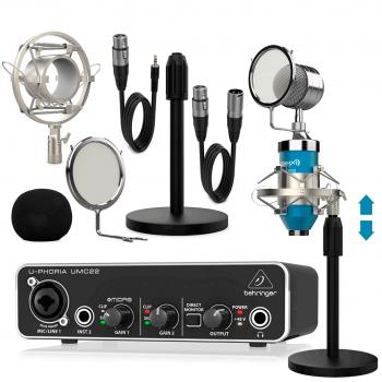 Behringer UMC22 Interface Audio con Micrófono Estudio Pro Dublin Blue Pack ( Micrófono + Soportes + Antipop + Cables)