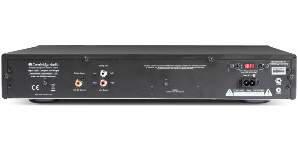 cambridge CD10 compact disc conexiones panel trasero
