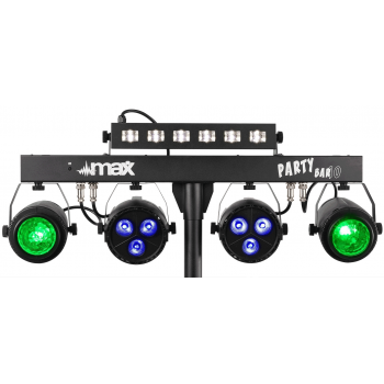 max PartyBar10 Set de Iluminacion con 2 Jelly Moon, 2 Focos Par y Strobo 153008