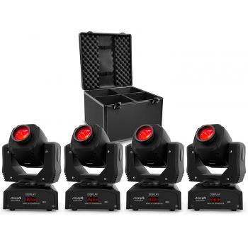 Pack 4 x Audibax Boston 60 Cabeza Móvil Spot + 1 x Audibax Flightcase para 4 Cabezas