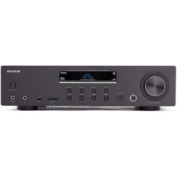AIWA AMU-120BT BK Amplificador HiFi Bluetooth 60W + 60W RMS. USB/SD MP3. Mic In