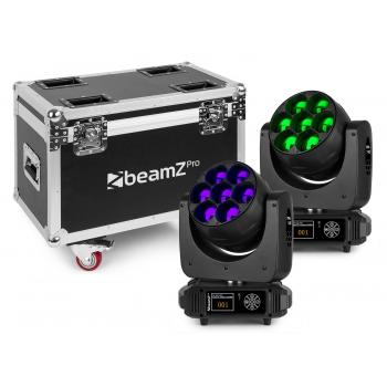 Beamz MHL740 Cabeza Movil LED Zoom 7 X 40W 2 Piezas en FlightCase 150103