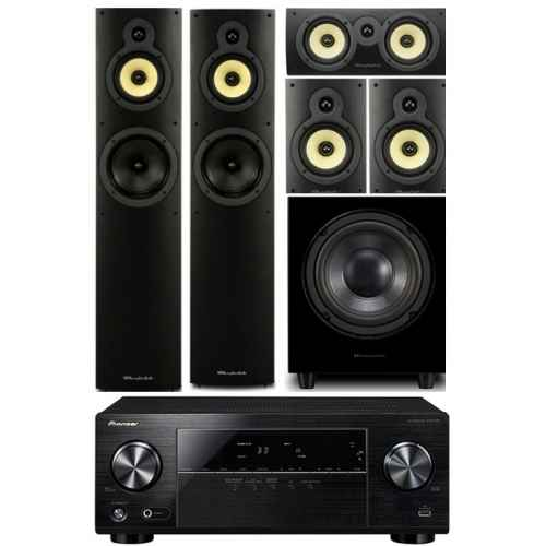 pioneer vsx330 wharfedale system 4 conjunto home cinema subwoofer WHD8