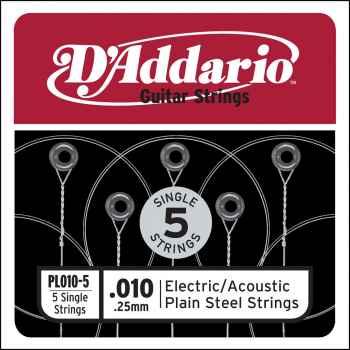 D´addario PL010-5 Cuerda Suelta para Guitarra Eléctrica y Acústica