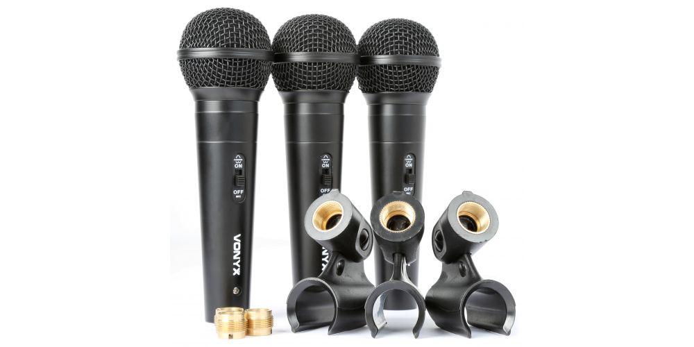 comprar set 3 microfonos de mano vonyx 173450