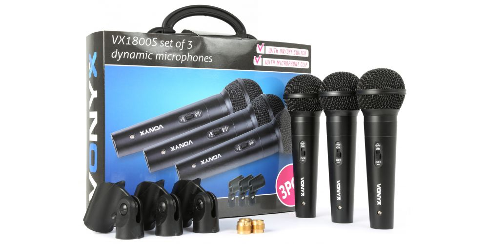 set 3 microfonos de mano vonyx 173450