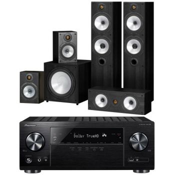 Pioneer VSX-832 BK + Monitor Audio Power 4-BK Conjunto Home Cinema