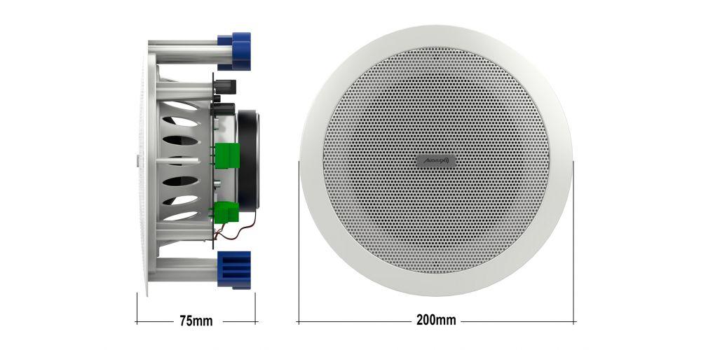 Audibax CM508L BT altavoz techo medidas