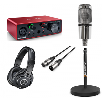 Pack Podcast and Youtuber Focusrite Scarlett Solo 3rd Gen con Auricular AT2020V, cable Soporte y Auricular