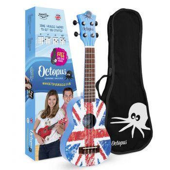 Octopus UK-205 UJB Ukelele Soprano Union Jack Azul con Funda