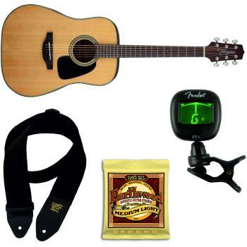 TAKAMINE GD10NS Guitarra Acustica + Juego Cuerdas y Correa Ernie Ball + Afinador Fender FT-1 Pro