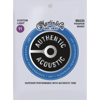 Martin MA535 Cuerdas Guitarra Acustica Authentic Sp Phosphor Bronze 92/8 Custom Light 11-52