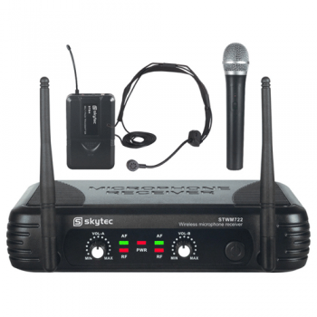 SKYTEC STWM712C Microfono Inalambrico Doble de Mano y Diadema