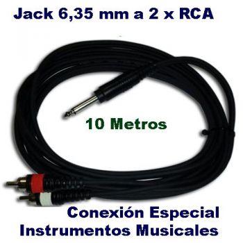 Cable Jack Macho 6,35 a 2 RCA 10 m. Para Instrumentos JACK-2RCA RF42