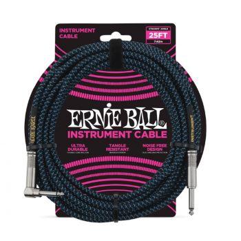 ERNIE BALL 6060 CABLE INSTRUMENTO TRENZADO JACK-JACK SA Negro/Azul - 7,62m