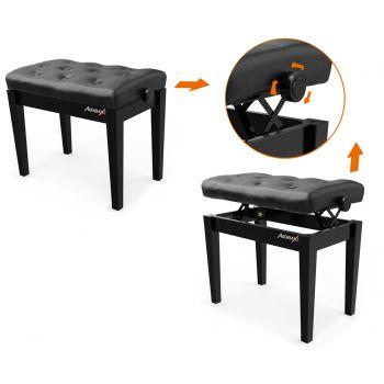 Audibax KB500B Banco para Piano / Teclado Ajustable Regulable Acolchado Negro