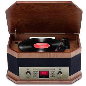 Ion Audio Octave LP Marron Giradiscos Retro con Radio DAB Bluetooth