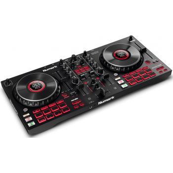 NUMARK Mixtrack Platinum FX Controlador DJ de 4 decks con Interface de Audio, Ruedas con Display y Pads de Efectos