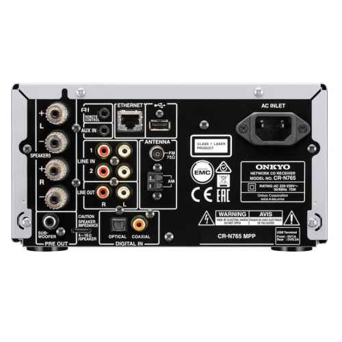 ONKYO CR-N765S Micro Cadena Sin Altavoces,Plateado