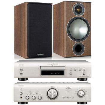 Denon PMA-800AE Silver +DCD800 Silver +Monitor Audio Bronze 2 Walnut conjunto sonido