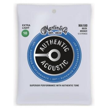 Martin MA180 Cuerdas Guitarra Acústica Authentic Sp 12st Bronze 80/20 Extra Light 10-47