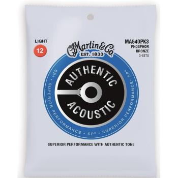 Martin MA540PK3 Cuerdas Guitarra Acústica Pack 3 Unidades Authentic Sp Phosphor Bronze 92/8 Light 12-54