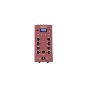 Omnitronic GNOME-202P Red Mini Mezclador Rojo con Reproductor USB y Bluetooth