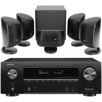 DENON Equipo AV AVR-X1600H +BW MT50 Black Conjunto Home Cinema