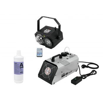 Eurolite Set LED Mini FE-4 Laser + NH-10 Máquina Humo / Niebla + Líquido A2D 1L