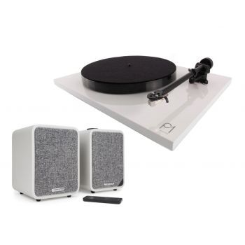 REGA Planar 1 Plus White+Ruark MR1 MK2 Grey  Conjunto audio