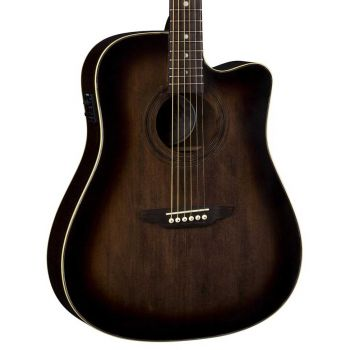 Luna Guitars Art Vintage Dreadnought CW A/E Distressed Vintage Brownburst. Guitarra Electroacústica