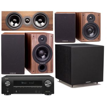 DENON Equipo AV AVR-X1500H + Cambridge SX60 walnut Cinema Pack 5.1 Altavoces Home Cinema