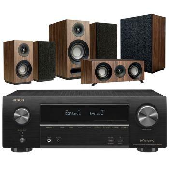 DENON equipo AV AVR-X1500H + Jamo S803 HCS + S808 SUB Walnut Altavoces Home Cinema